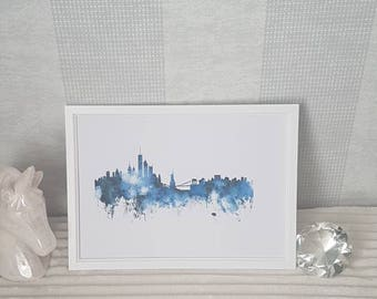 New York skyline watercolour -A4