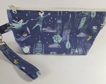 Peter Pan & Wendy Wedge Project Bag for Knitting or Crochet, Travel/Makeup bag, too!