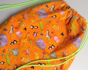 Drawstring backpack.  Waterproof lining. Swimming bag.  Gym bag.  PE bag.  Baby changing bag.