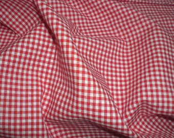 Gingham red 100% cotton Plaid 3 mm - price per meter