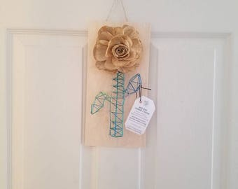 Rose and string art