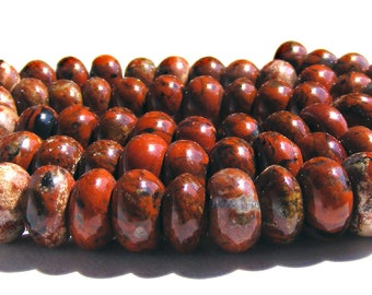 10 jaspes Abacus de 8x5 mm perles rouge marron strié de blanc et noir.