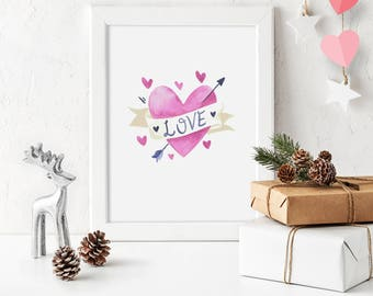 Valentines Day Decor Hearts Print Love Poster Printable Wall Art Watercolor Valentines Arrow Hearts Print Wedding Art Digital Print Download