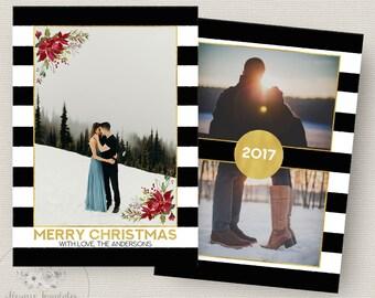 Photo Christmas Card Template, Gold Christmas Card Template, Black & White Stripes Photoshop Christmas Card Template, PSD Template, 5x7