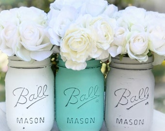 White, aqua, gray distressed and painted mason jars. Boho cottage flower rustic vase, Teen room, Kitchen decor, chalk paint ball jar, chic