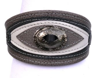 Gray grained leather Greyhound collar