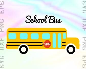 School Bus SVG Files - School Bus Clipart - School Bus Dxf File - Back to School Cut File - School Bus Cricut File - Svg, Dxf, Png Vectors