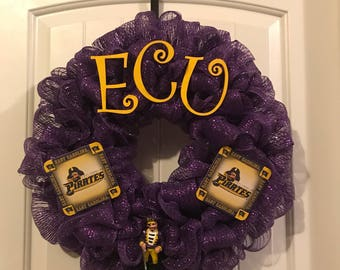 East Carolina University ECU Pirates Fan Cave 20 Wreath