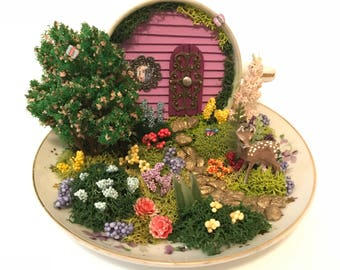 Teacup Fairy Garden with Deer in Purple