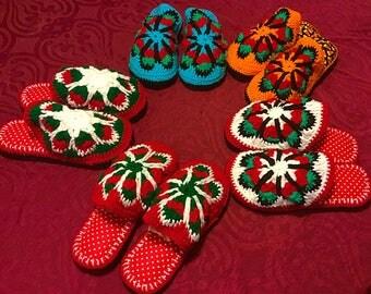 Cristmas gift , crochet slippers, winter slippers