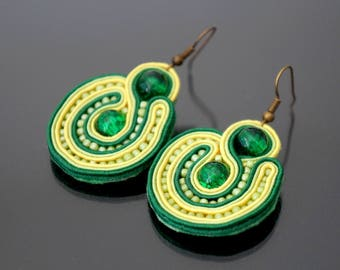 Green and yellow soutache earrings.