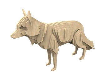 Red Fox 3D wooden puzzle/model