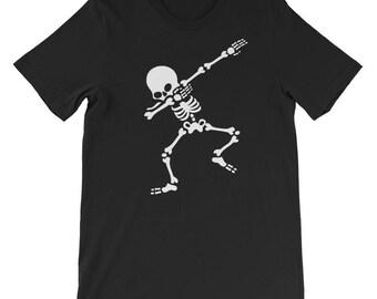 Halloween Shirt, Dabbing Skeleton Halloween Shirt for Men and Women Dab Hip Hop Short-Sleeve T-Shirt