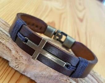 Cross Gift for him Man Leather Bracelet gift Cross Man Leather Bracelet Leather Anniversary Gift for him