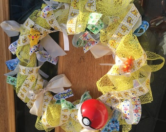 Unique Handmade Yellow Pikachu Pokemon Ribbon Wreath With Pokeball And Figures
