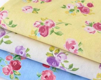 Japanese cotton stiff vintage flowery fabric yellow x 50cm