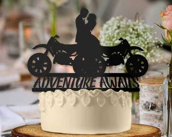 Motorcycle Couple Adventure Awaits Cake Topper