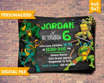 Teenage Mutant Ninja Turtles Invitation, TMNT Invitation, TMNT Birthday Invitation, Ninja Turtles Party, Leonardo, Ninja Turtle Invitation