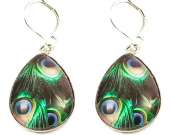 Cabochon drop earrings * blue and dark green Peacock feather *.