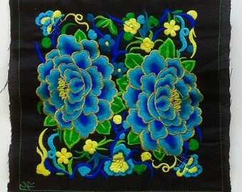Blue Embroidered Hmong Fabric, Hmong Fabric Hill Tribe, Hmong Hill Tribe Embroidered, Thai Hill Tribe, Hmong Textile, Hill Tribe Handmade.