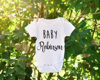 Pregnancy Announcement Onesie, Baby Announcement Onesie, Last Name Onesie, Last Name Bodysuit, Custom Baby Onseie, Baby Shower Gift, Newborn