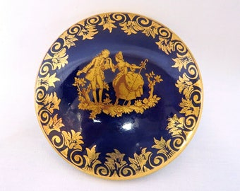 Vintage La Seynie small porcelain jewelry box, dark blue with gold details