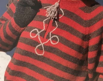 PDF Knit Striped Snowflake Pullover (EASY)