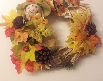 Scarecrow hay fall wreath