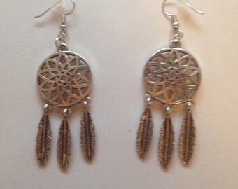 Earrings silver feather Dreamcatcher