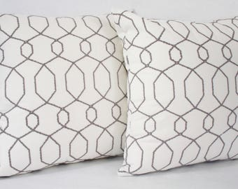 "18 x 18"" White/Gray Embroidered Pillow Cover - Designer Fabric Accent Pillow - Designer Throw Pillow"
