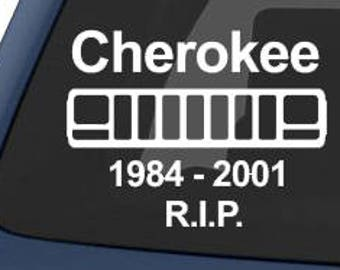 Cherokee 1984 - 2001 R.I.P Jeep XJ Sticker Decal