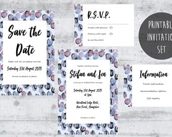 Purple Wedding Invitation, Modern Wedding Printable, Custom Design, Wedding Stationary, Custom Invitations Printable, Printable Invites.