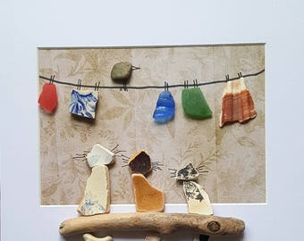 Cornish Pebble Sea Glass Sea Pottery Art Cats watching Bird on Washing Line Unique Handmade Box Framed Art