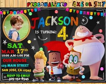 Captain Underpants Invitation, Captain Underpants Party, Captain Underpants Invite, Captain Underpants Birthday Party, Underpants Party Card