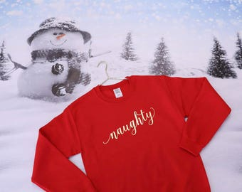 Christmas Shirts - Christmas Outfit - Christmas Sweater - Christmas Sweatshirts - Naughty and Nice Matching Christmas Shirts