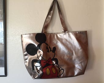Disney Parks Mickey Mouse Silver Large Tote Bag Purse Imitation Leather Free Shipping
