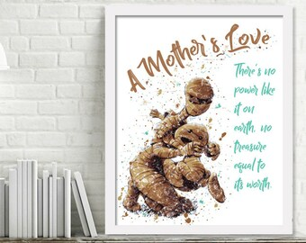 Printable Mummy Nursery Wall Art, Mom Quotes, Gifts for Moms, A Mother's Love, Baby Shower Gift