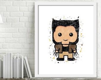 Printable Superhero Nursery Art, Superhero Watercolor Art, Superhero wall decor, X-Men Watercolor Print, Wolverine Art, Mini Superheroes