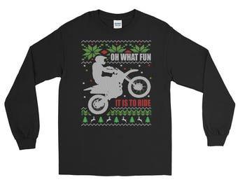 Dirt Bike Ugly Christmas Long Sleeve T-Shirt