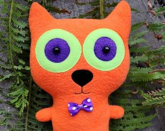 Stuffed animal cat Orange plush toy Cute handmade plushie lover gift Fabric pillow art Kawaii soft Rag doll Gift mom girl Home decor animal