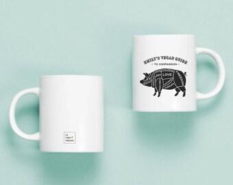 Personalised Vegan Mug - Guide To Compassion - Gift For Vegans - Mug For Vegans - Vegan Gift - Vegan Stocking Filler