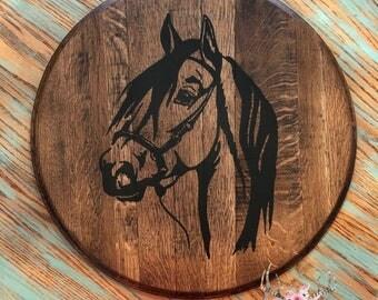 Authentic Bourbon Barrel Lid Horse, Bourbon Barrel Horse Head