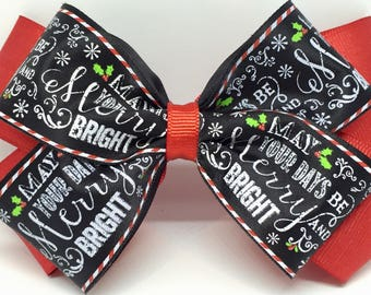 Christmas bow, Girls Christmas bow, Christmas song bow, holly bow, black and red bow, Merry Christmas bow, Merry and bright bow