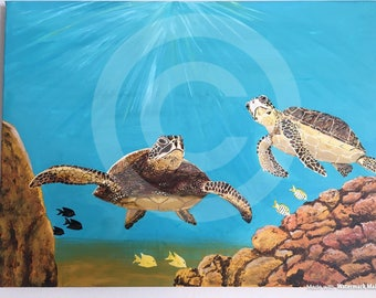 Under the Sea with Turtles - Original Painting on Canvas