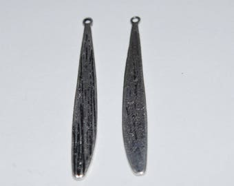 6 pendants antique silver 41x5.5mm baseball bat