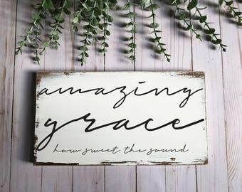 amazing grace-inspirational sign-wood sign-gospel sign-hymn-christian decor-christian sign-amazing grace sign-amazing grace decor