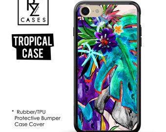 Palm Leaves, Tropical phone case, Tropical iPhone 7 Case, Tropical iPhone 6 Case, iPhone 7 Plus, Gift For Her, Rubber, Bumper Case
