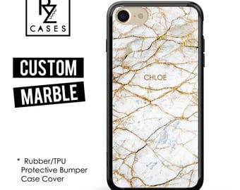 Marble Phone Case, Marble iPhone 7 Case, Personalized Gift for Her, iPhone 7 Plus, Custom Case, Marble Case, Gift, Rubber, Bumper