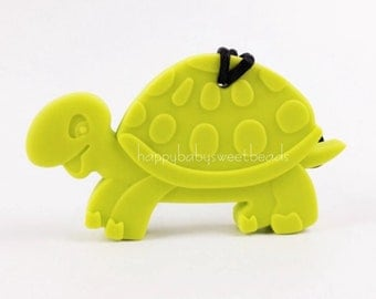 Turtle Silicone Teether Baby Teething Toy Silicone Pendant BPA Free Silicone Beads Nursing Necklace