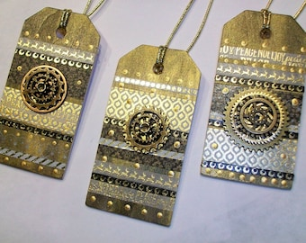 Steampunk Trio Gifttags in Gold